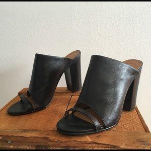 Black slide-on peep-toe heel
